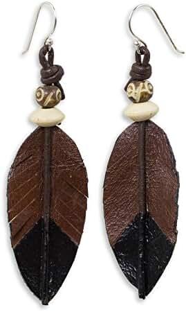 NOVICA .925 Sterling Silver Wood Leather Bone Dangle Earrings 'Leaf Feather'