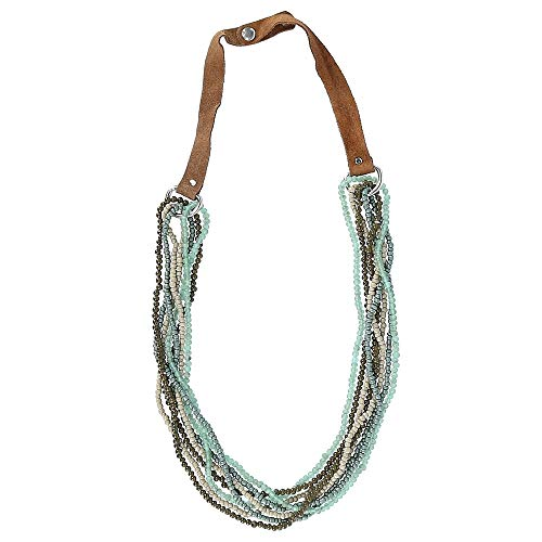 - CTM Leather Beaded Fashion Statement Necklace, Multi