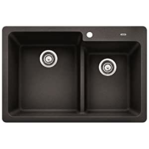 "Blanco 441604 Grandis 33"" Double Basin Drop In or Undermount Granite Composite Kitchen Sink with 60/40 Split"