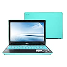 GMYLE Turquoise blue 3 in 1 Rubberized Hard Case Cover for Acer Chromebook C720 C720P C740 - Silicon Keyboard Protector and Clear LCD Screen Protector (Not Fit For Acer Chromebook CB3-111 Series)
