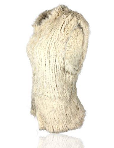 Natural Caliente De Conejo Chaleco Beige Mujer Punto Uilor® Gruesa Piel qxCOStWcwZ