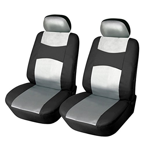 - 115906 Bk/Silver-Leather Like 2 Front Car Seat Covers Compatible to BMW 740i 750i xDrive X1 X3 X5 2017-2007