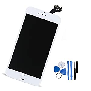 Yodoit For iPhone 6s Plus LCD Display and Digitizer Assembly Glass Touch Screen Replacement with Frame Spare Parts (Front Camera, Sensor Flex, Home Button, Earpiece Speaker) + Tool (5.5 inches White)