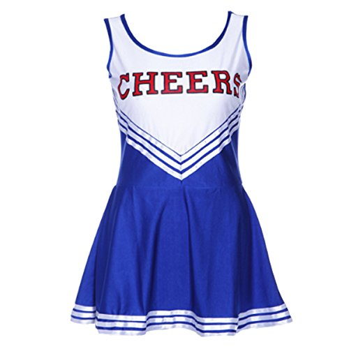 Leading Ladies Costumes (Quesera Women's Cheerleader Costume Cheerleading Uniform Fancy Dress Cosplay Costume, Blue, S)