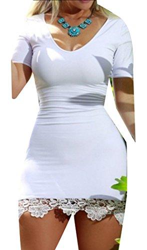 White Dress Neck Up Short Scoop Womens Backless Sleeve Lace Mini Party Jaycargogo fPqU1wx