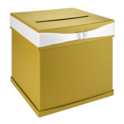 Andaz Press Gold Wedding Card Box with Slot, White Satin Ribbon and Rhinestone Buckle, 10