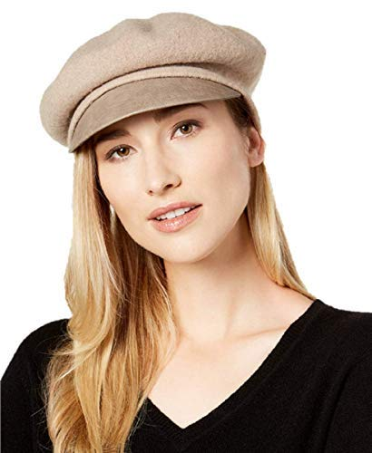 Nine West Wool & Faux-Leather Newsboy Hat in Taupe by Nine West