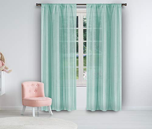 - Lala + Bash Mariella Pole Top Metallic Semi-Sheer Window Curtain Pair Drape for Living Room & Bedroom-Set of 2 Panels, 38 X 84 Inch, Seafoam