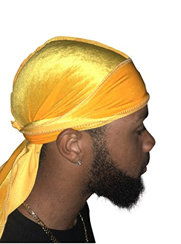 Velvet High Premium Durag 360, 540, and 720 Waves Extra Long and Wide Straps for Men Du-RAG Red Green Purple Blue Yellow (Yellow)