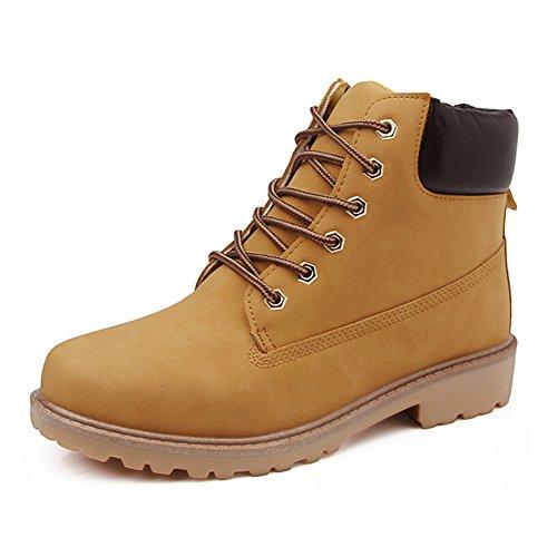 Short Combat Chelsea Retro Lace Up Martin Ankle Boots Work Hiking Trail Biker Shoes Yellow zwDzLpdo