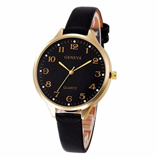 Trendy Student Lady Leather Band Analog Quartz Round Wrist Women's Fine Vintage Fashion Rhinestone Belt Watch (Lady Leather Belt Watch)