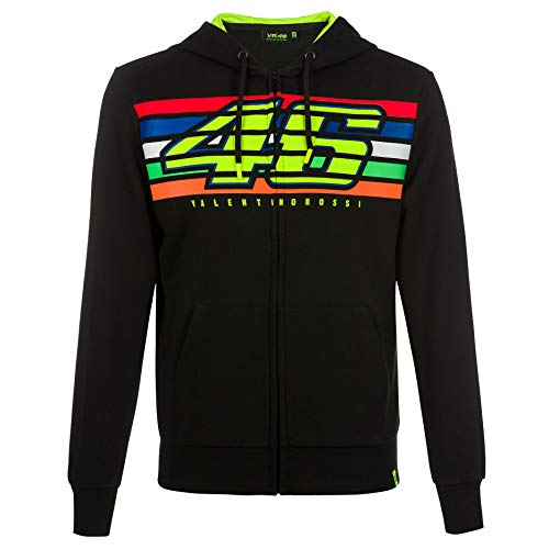 VR46 Valentino Rossi Mens Hoodie Zip Up Jacket Black for sale  Delivered anywhere in USA
