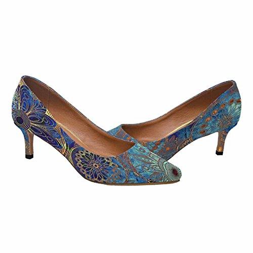 Talon De Chaton Faible Dinterestprint Womens Bout Pointu Robe Pompe Chaussures Cercles Ornement Floral Dans Les Couleurs Bleues, Oranges Et Or Multi 1