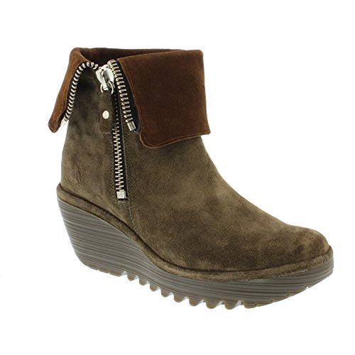 FLY London Yex668fly - Botas Mujer Marrón (Sludge/camel)