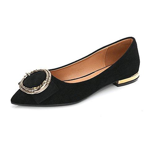 puntiaguda puntera zapatos Mujer Negro Casual ante tandefly Planas de comodidad TYwP8aq