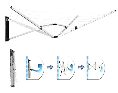 4 & 5 Arm Rotary Airer Multi Hanger Free Standing/Wall mounted (5 Arm Wall Mounted, 26 Meter)