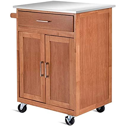 Attirant Giantex Wood Kitchen Trolley Cart Stainless Steel Top Rolling Storage  Cabinet Island