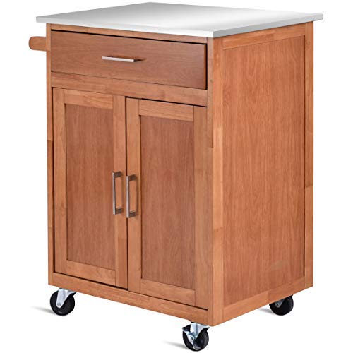 Giantex Wood Kitchen Trolley Cart Stainless Steel Top Rolling Storage Cabinet Island