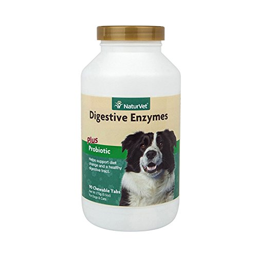 NaturVet Digestive Enzymes Plus Probiotic for Dogs, 90 ct Soft Chews , Made in USA
