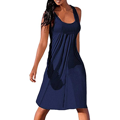 Clearance Sale! Wintialy Women Summer Sexy Solid Sleeveless Plain Pleated Casual Mini Dress -