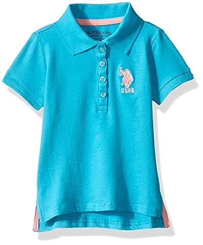 U.S. Polo Assn. Big Girls' Short Sleeve Stetch Polo Shirt, Turquoise, 7 - Turquoise Girls Shirt