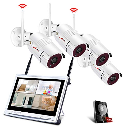 ANRAN Wireless Security Camera System with 12″ LCD Monitor, 4ch 1080p WiFi Surveillance DVR Kits with 4PCS 2.0MP CCTV IP Cameras, 1TB Hard Drive, Weatherproof, Remote Access, Motion Detection
