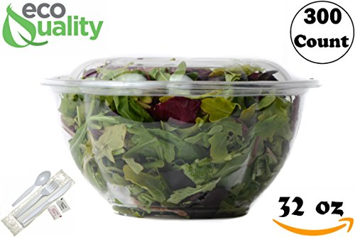 32oz Salad Bowls To-Go with Lids and Cutlery (300 Count) - Clear Plastic Disposable Salad Containers | Lunch, Salads, Fruits, Leak Proof, Airtight, Fresh, Meal Prep, Fork, | Rose Bowl Container (32oz)