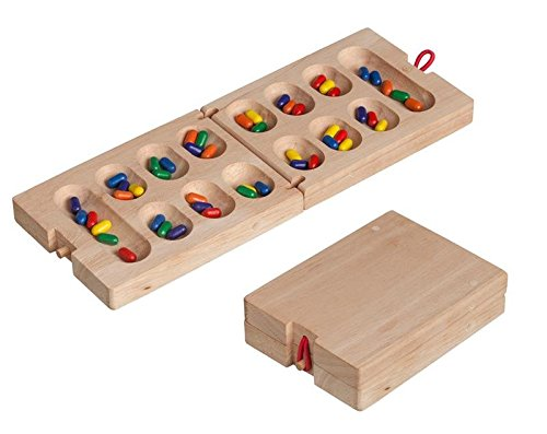 Wood Folding Kalaha / Mancala - Coffee Table Ancient African Stone Game - Mini travel set