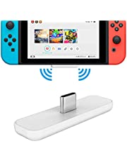 Gulikit Switch Bluetooth Adapter for Nintendo Switch & Switch Lite PS4 PC APTX Low Latency Wireless Transmitter with A/B Dual Paring for Airpods QC35 etc. Bluetooth Headphone Speakers-White Red