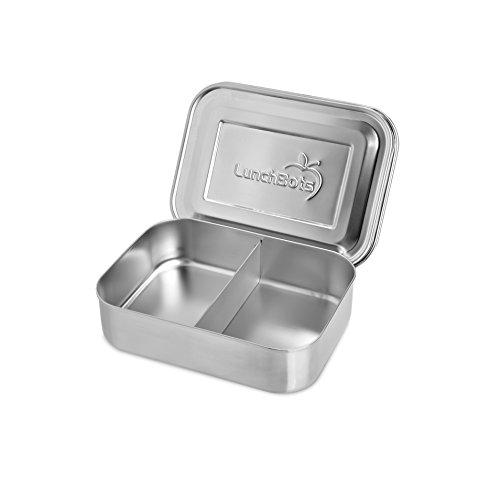LunchBots Pico Duo Stainless Steel Food Container - Small Snack Container with 2 Compartments for Fruits, Vegetables and Finger Foods - Eco-Friendly, Dishwasher Safe and BPA-Free - All Stainless (Containers Stainless Snack Steel)