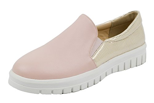VogueZone009 Low Pull Heels Shoes Round Pumps On PU Assorted Pink Color Toe Women's rBpUWqnr