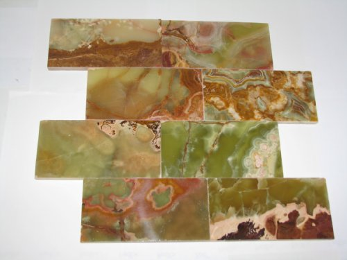 3x6 Multi Green Onyx Subway Brick Polished Tiles for Backsplash