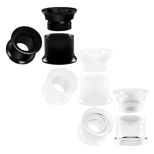 BIG GAUGES 3 Pairs Clear Acrylic 00g Gauge 10mm Black & White Double Flared Screw-fit Piercing Jewelry Ear Plug Lobe Flesh Tunnel BG0754 ()