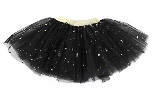 WGOODTECK Newborn Infant Baby Girls Sequin Tutu Stars Glitter Skirt(0-12M,Black)]()