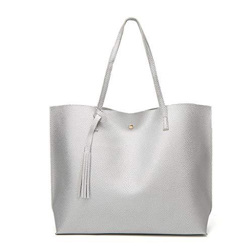 MaxFox Women Large Capacity Shopping Fashion Fringe Solid Waterproof Shoulder Tote Handbag Bags Wallet Card Ipad Storage Purse ()