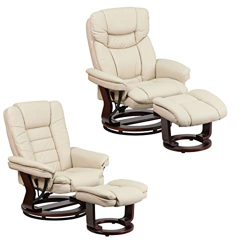 Flash Furniture Two Different Design Contemporary Beige Leather Recliner and Ottoman with Swiveling Mahogany Wood Base