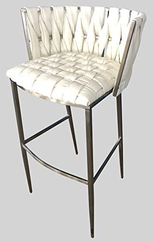 Barstools 4U - Barcelona 35inch Snow White Stainless Steel Bar Stool