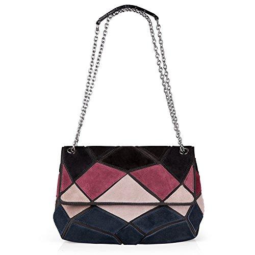 Nico Louise women's Genuine Suede Leather Purse Shoulder Bag Patch-color Messenger Handbag (Black-Blue-Burgundy-White) (Suede Genuine Ladies Leather)