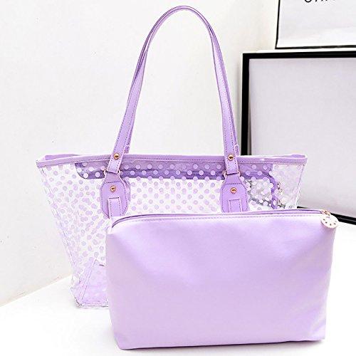 Bag Beach Purse Jelly ShiyiUP Women Tote Handbag Summer Candy Transparent Purple Shoulder Bwa7avnqFx