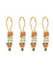 "Set of 4 Orange Artificial Flowers Ribbon Garland Haar Mala for small Idol Mala for Indian God Godess Durga Devi Mata Pooja Sringar Articles ornament Mala For Laxmi Ganesh G (size 3.5"")"