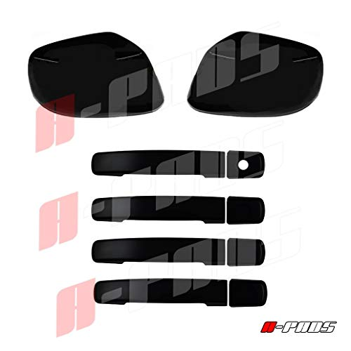 A-PADS Nissan 2005 06 07 08 09 2010 11 12 13 14 15 2016 Frontier Black Gloss Full Mirror 4 Door Handle Cover Without Smart Key/Passenger Keyhole