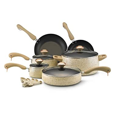 Paula Deen Signature Collection Porcelain Nonstick 15-Piece Cookware Set, Oatmeal Speckle
