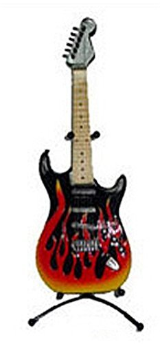 Flaming Electric Guitar Bank with Metal Stand, Red and (Red And Black Guitar)