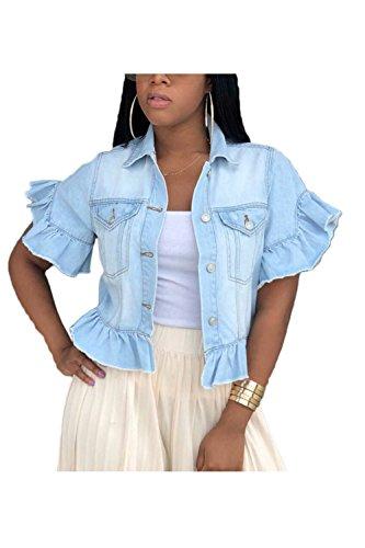 (Fanvans Womens Denim Jacket Ruffle Sleeve Short Cropped Jean Jackets Blue XL)