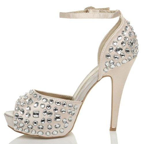 Para mujer de tacón alto mujer plataforma peeptoe Gem Correa de tobillo boda sandalias zapatos talla Rosa - Champagne Pink Nude