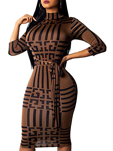 Women's Casual Floral Sexy High Neck Midi Dress Bodycon 3/4 Sleeve with Belt]()