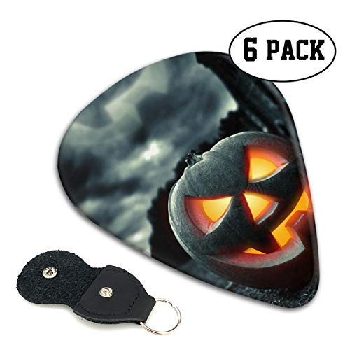 Nice Music Halloween Pumpkin Shadow Cloud Castle Ultra Thin 0.46 Med 0.71 Thick 0.96mm 4 Pieces Each Base Prime Celluloid Ivory Jazz Mandolin Bass Ukelele Plectrum Guitar Pick Pouch Display]()