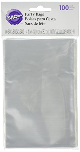 Wilton 1912-1294 100 Count Party Bags, Clear, Mega (Favor Bag)