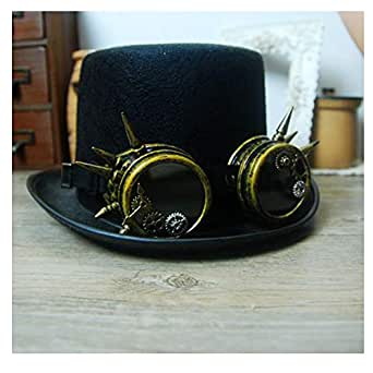 SHENTIANWEI Women Men Steampunk Top Hat with Gear Glasses Party Hat Performance Hat Accessories Hat Black Size 57CM (Color : Black, Size : 57CM)