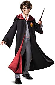 Disguise Harry Potter Premium Costume, Kids Prestige Hooded Robe and Jumpsuit, Children Size Medium (7-8), Bla